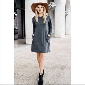 Dresses & Skirts - Knit grey dress with two front pockets